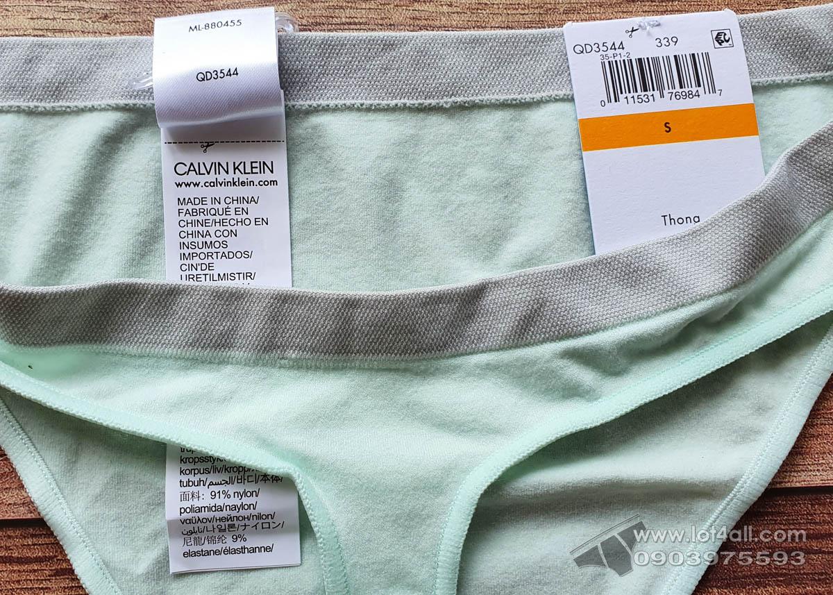 Quần lót nữ Calvin Klein QD3544 Pure Seamless Thong Panty Elysian Green