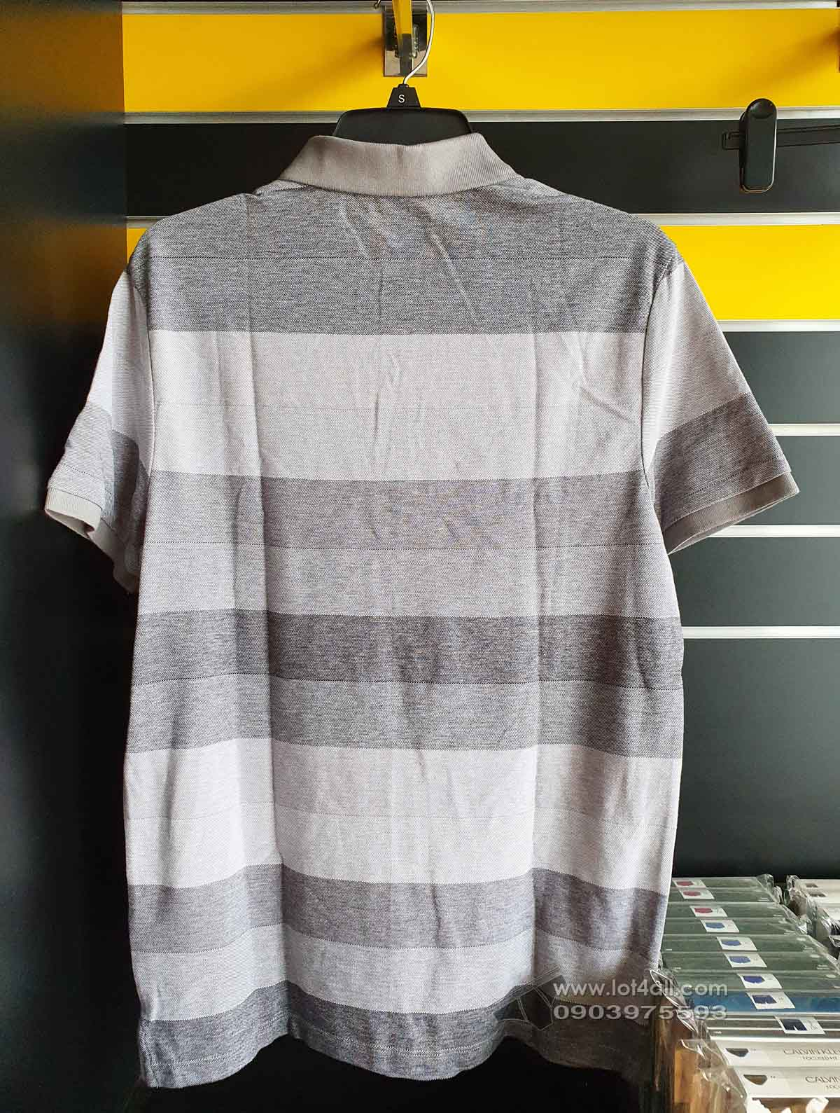 Áo thun nam Calvin Klein Striped Performance Pique Polo Shirt Convoy
