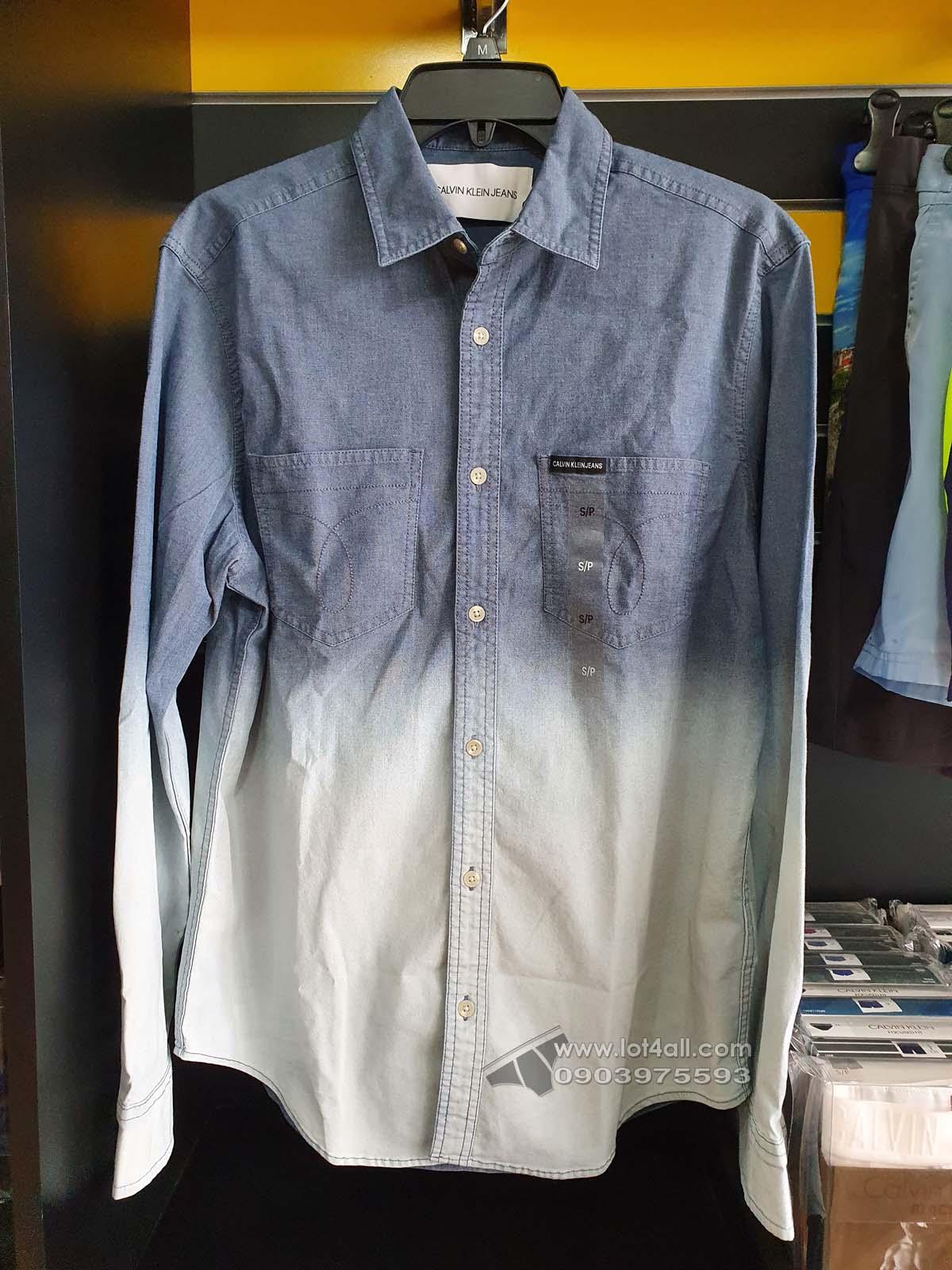 Áo sơ mi nam Calvin Klein Chambray Button Down Long Sleeve Shirt Blue Dip Dye