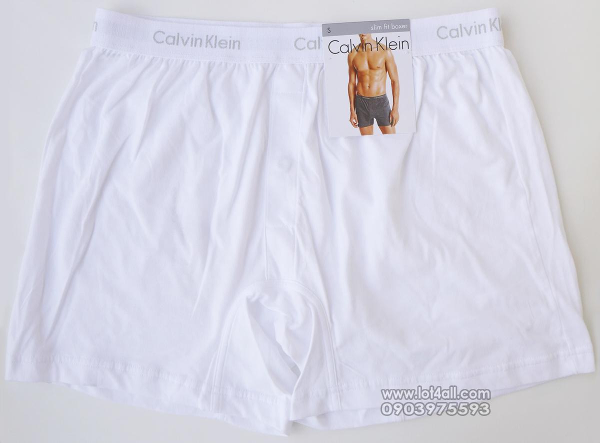 Quần đùi boxer nam Calvin Klein U1029 Slim Fit Knit White