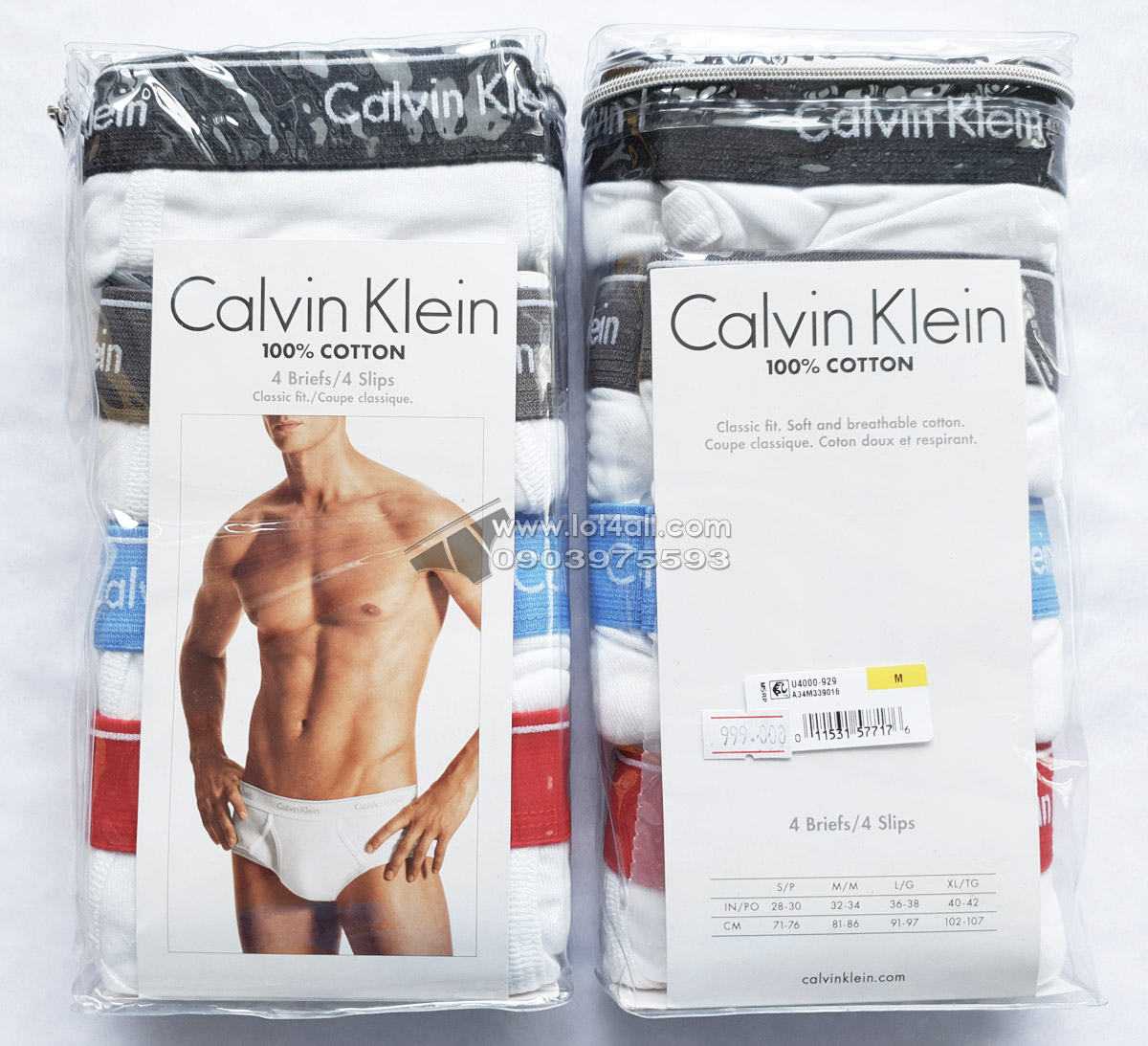 Quần lót Calvin Klein U4000 Cotton Classic Brief 4-pack White