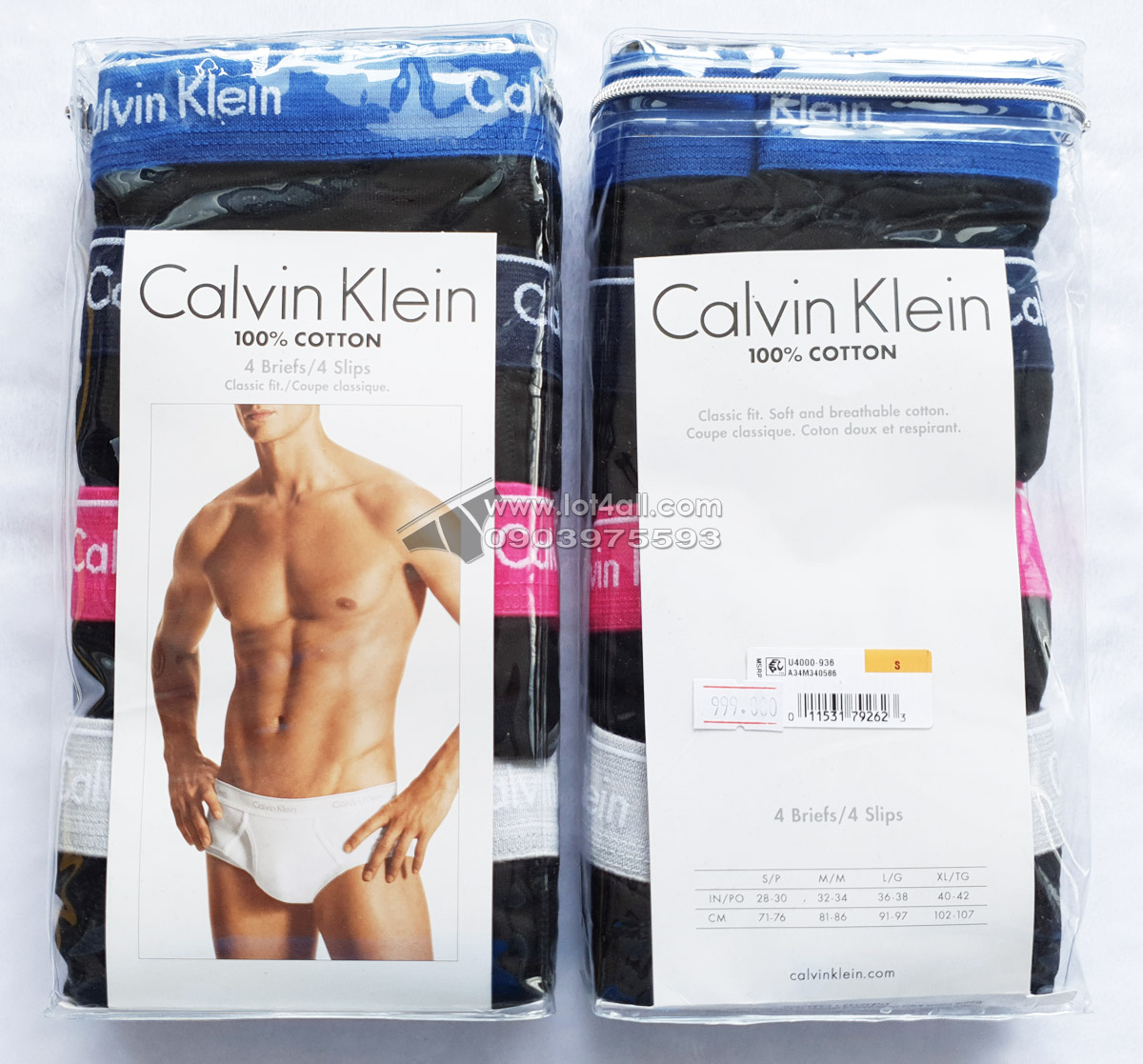 Quần lót Calvin Klein U4000 Cotton Classic Brief 4-pack Black