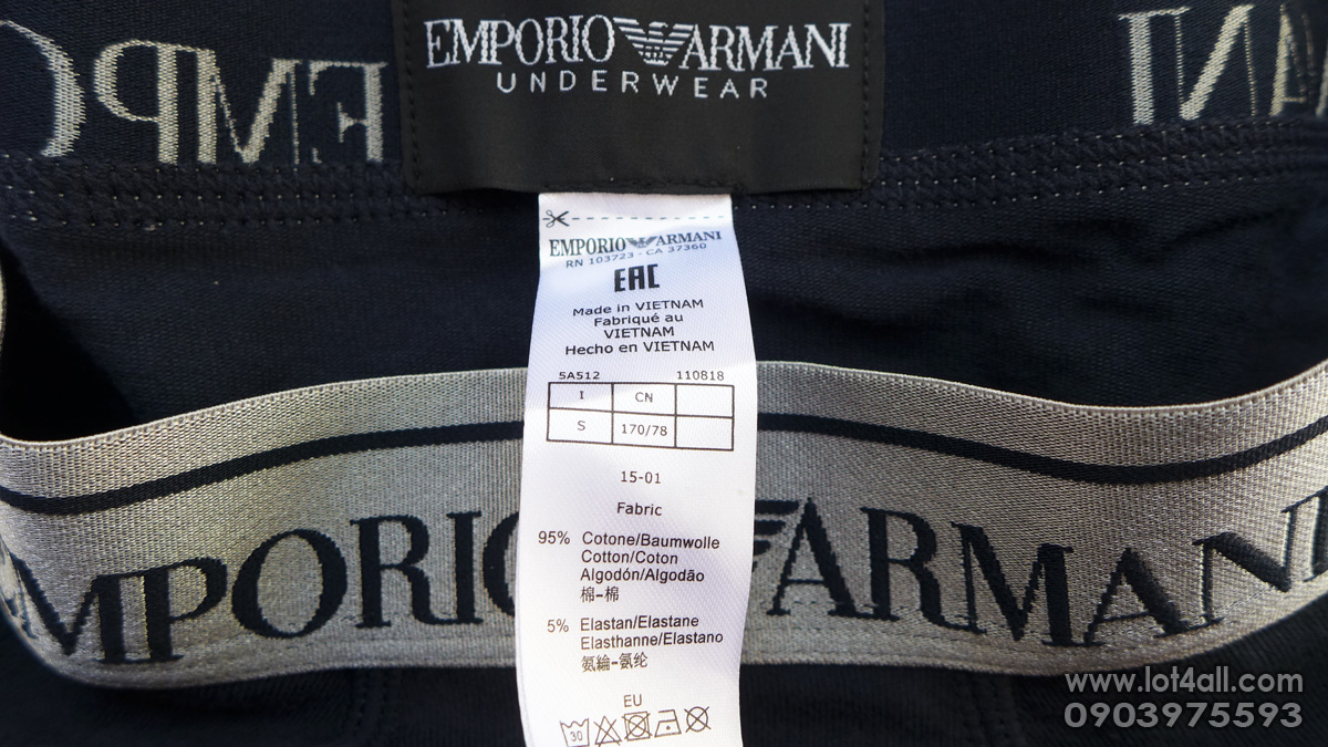 Quần lót nam Emporio Armani Metal Elastic Band Cotton Stretch Boxer Marine