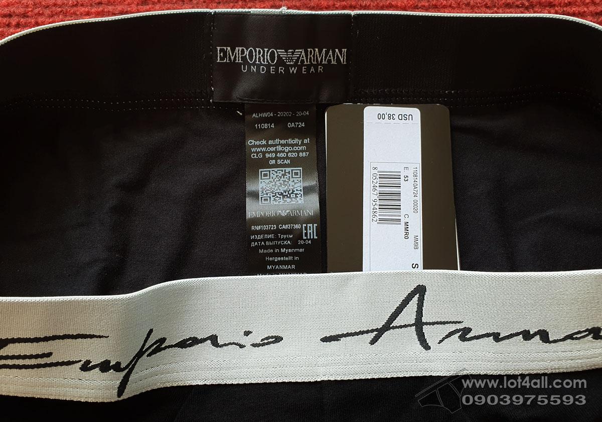Quần lót nam Emporio Armani Organic Cotton Logo Signature Brief Black