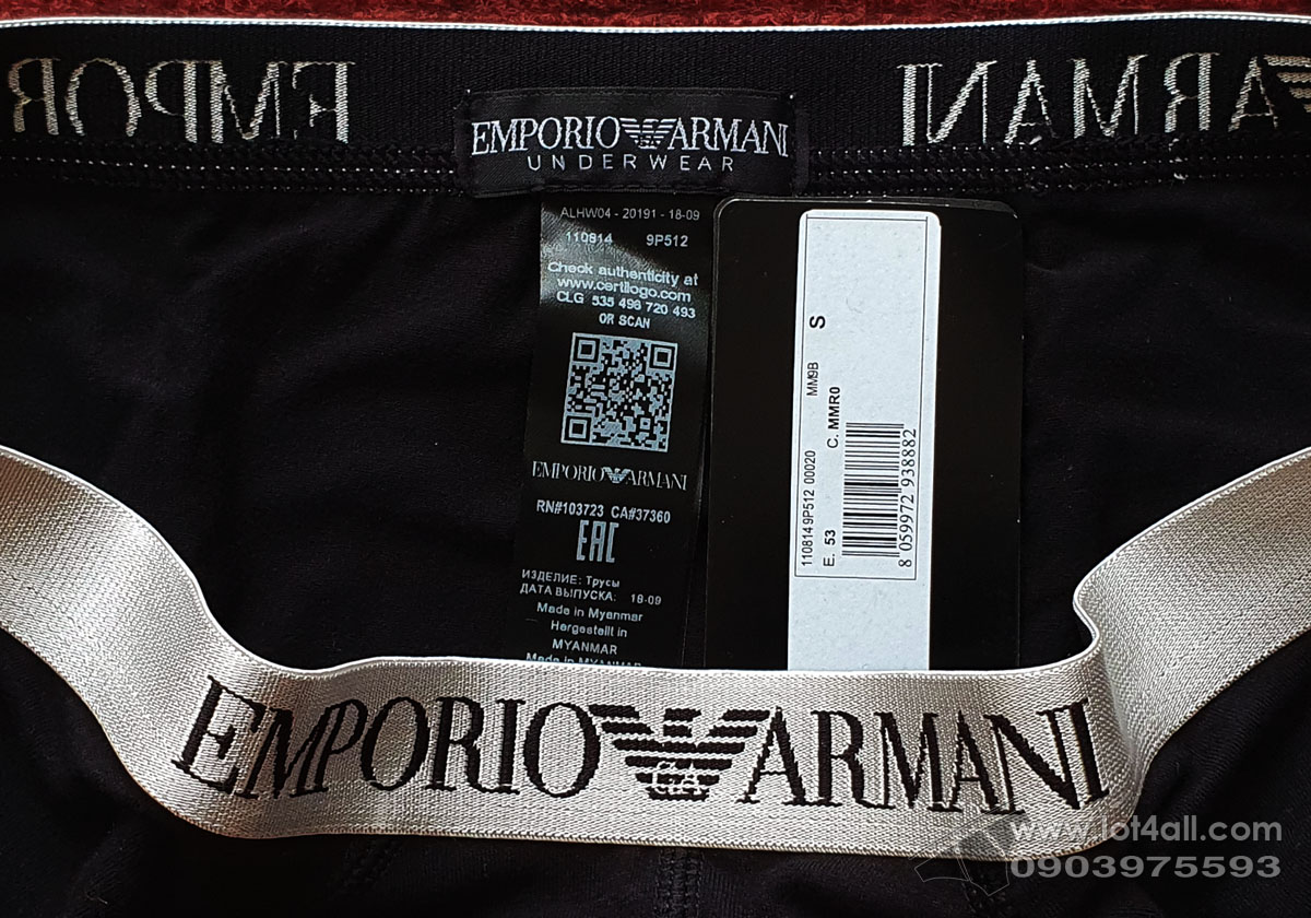 Quần lót nam Emporio Armani Shiny Logoband Brief Black