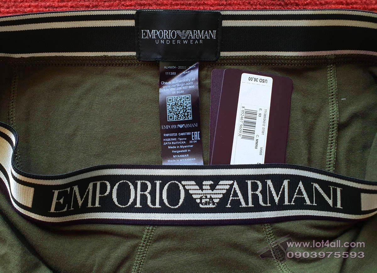 Quần lót nam Emporio Armani Shiny Logoband Trunk Military