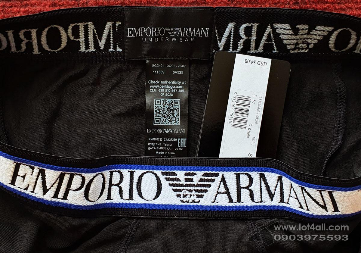 Quần lót nam Emporio Armani Textured Logoband Cotton Trunk Black