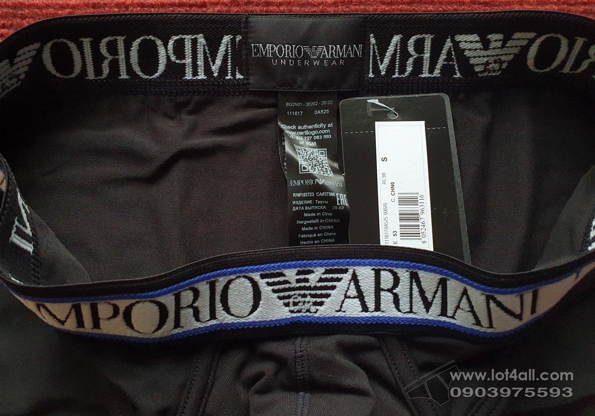 Quần lót nam Emporio Armani Texture Logoband Cotton Brief Black