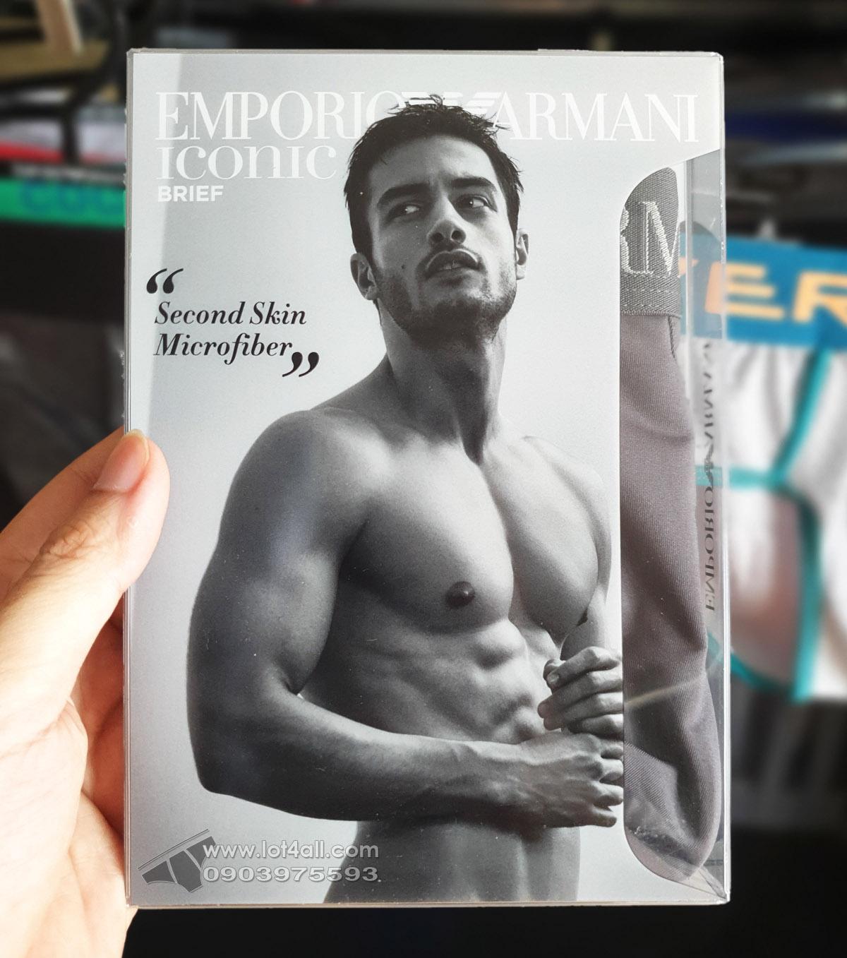 Quần lót nam Emporio Armani Second Skin Microfiber Brief Anthracite
