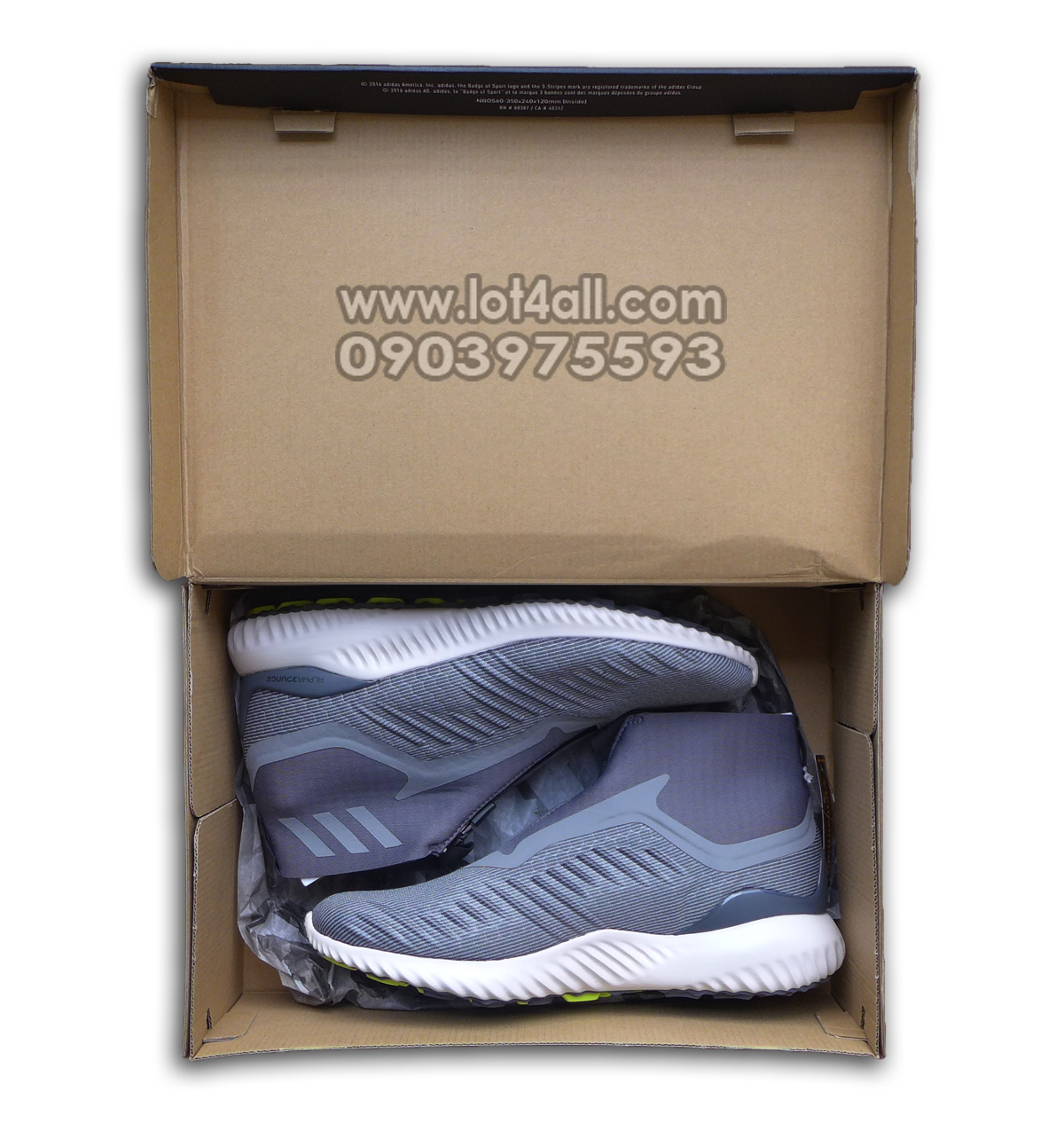 Giày nam Adidas AlphaBounce 5.8 Zip Running Shoe Grey/White