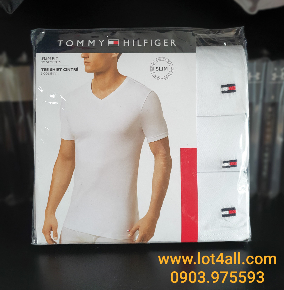 Áo lót nam Tommy Hilfiger Cotton Slim V-Neck Tee 3-pack White