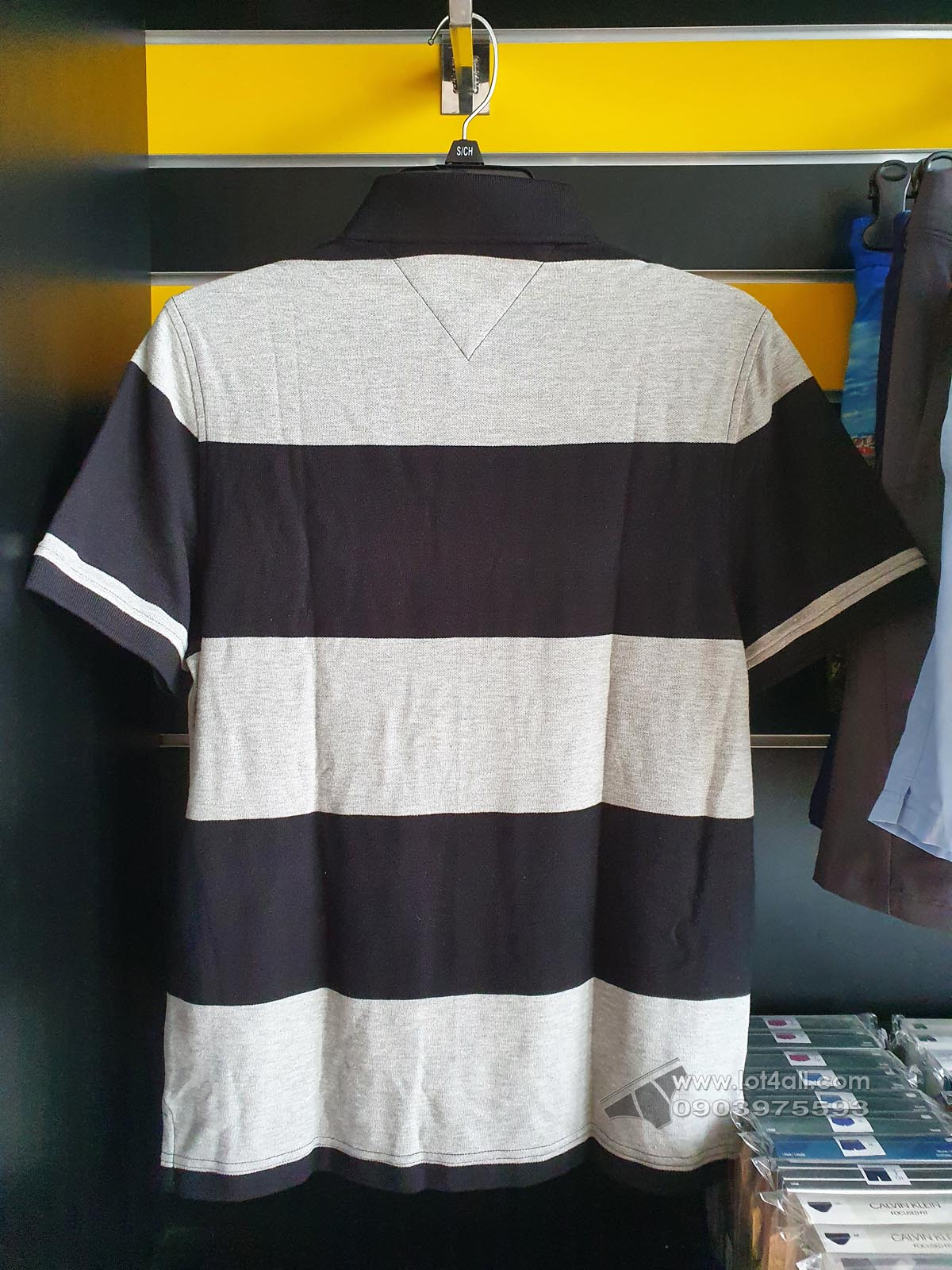 Áo thun nam Tommy Hilfiger Striped Charles Polo Shirt Deep Black