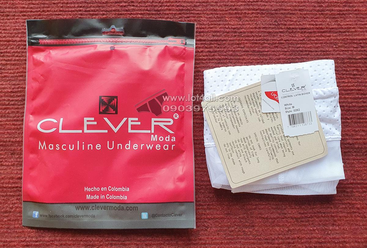 Quần lót nam Clever 0262 Control Latin Trunk White