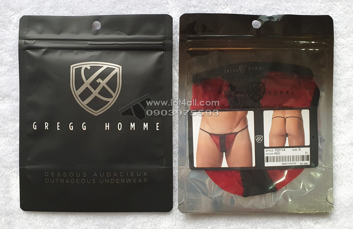 Quần lót nam Gregg Homme 152114 Temptation See Through Mesh Thong Red