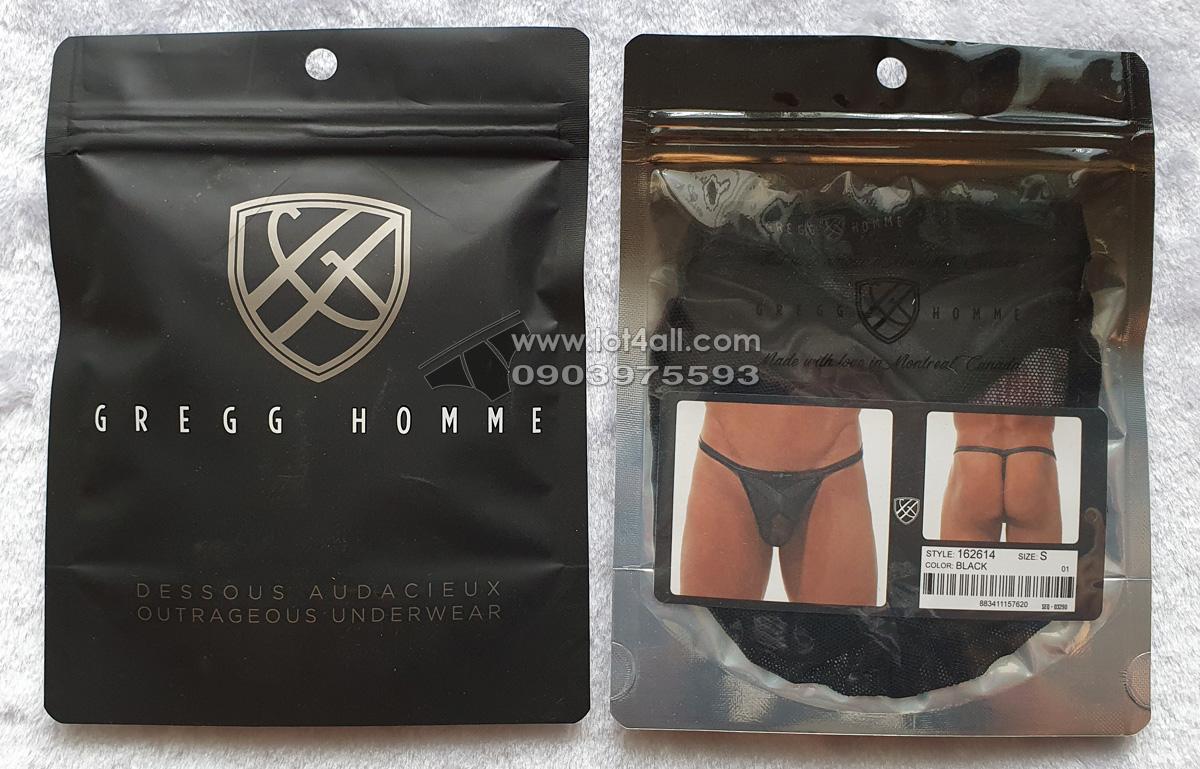 Quần lót nam Gregg Homme 162614 Black X Pleather Mesh Pouch Thong Black