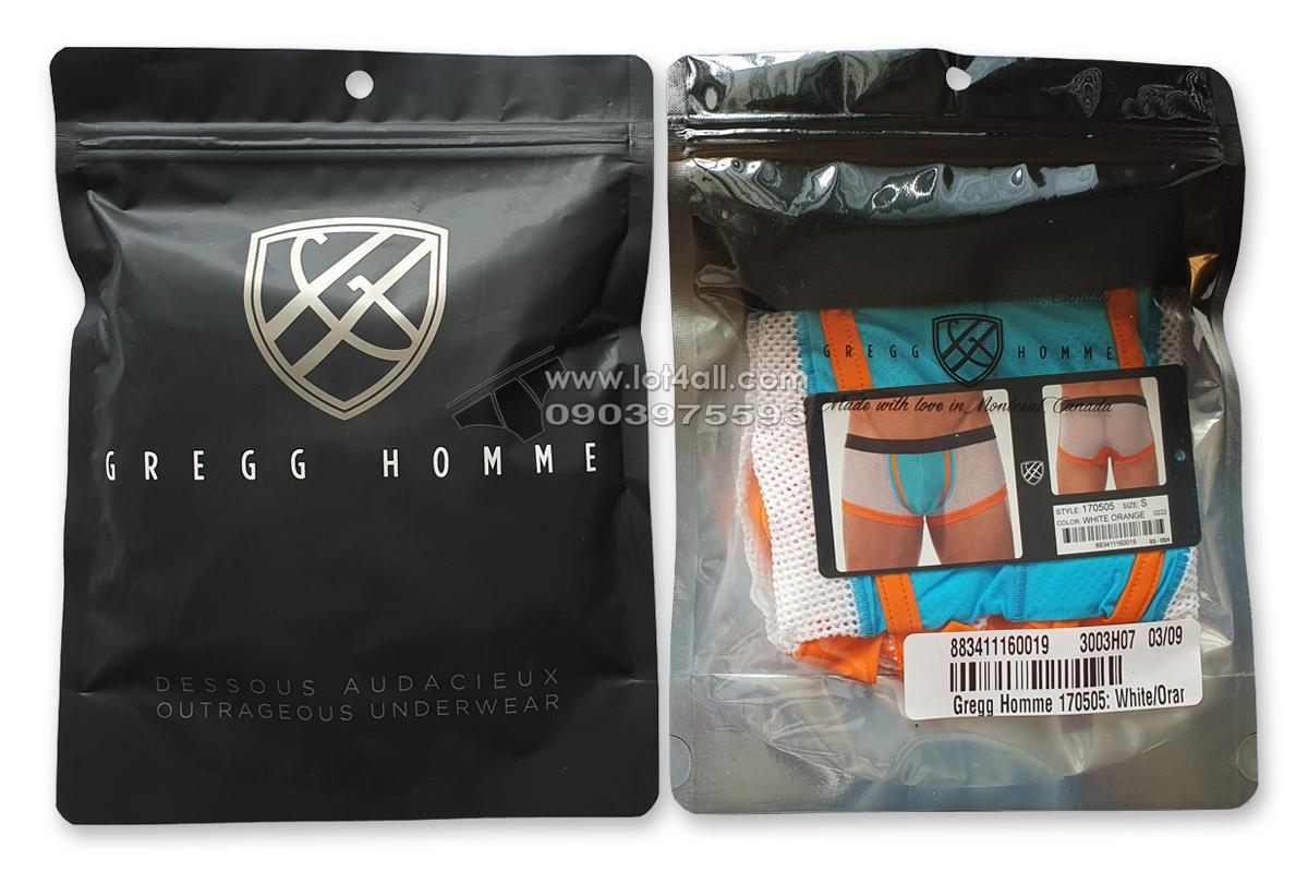 Quần lót nam Gregg Homme 170505 Challenger Mesh Trunk White Orange