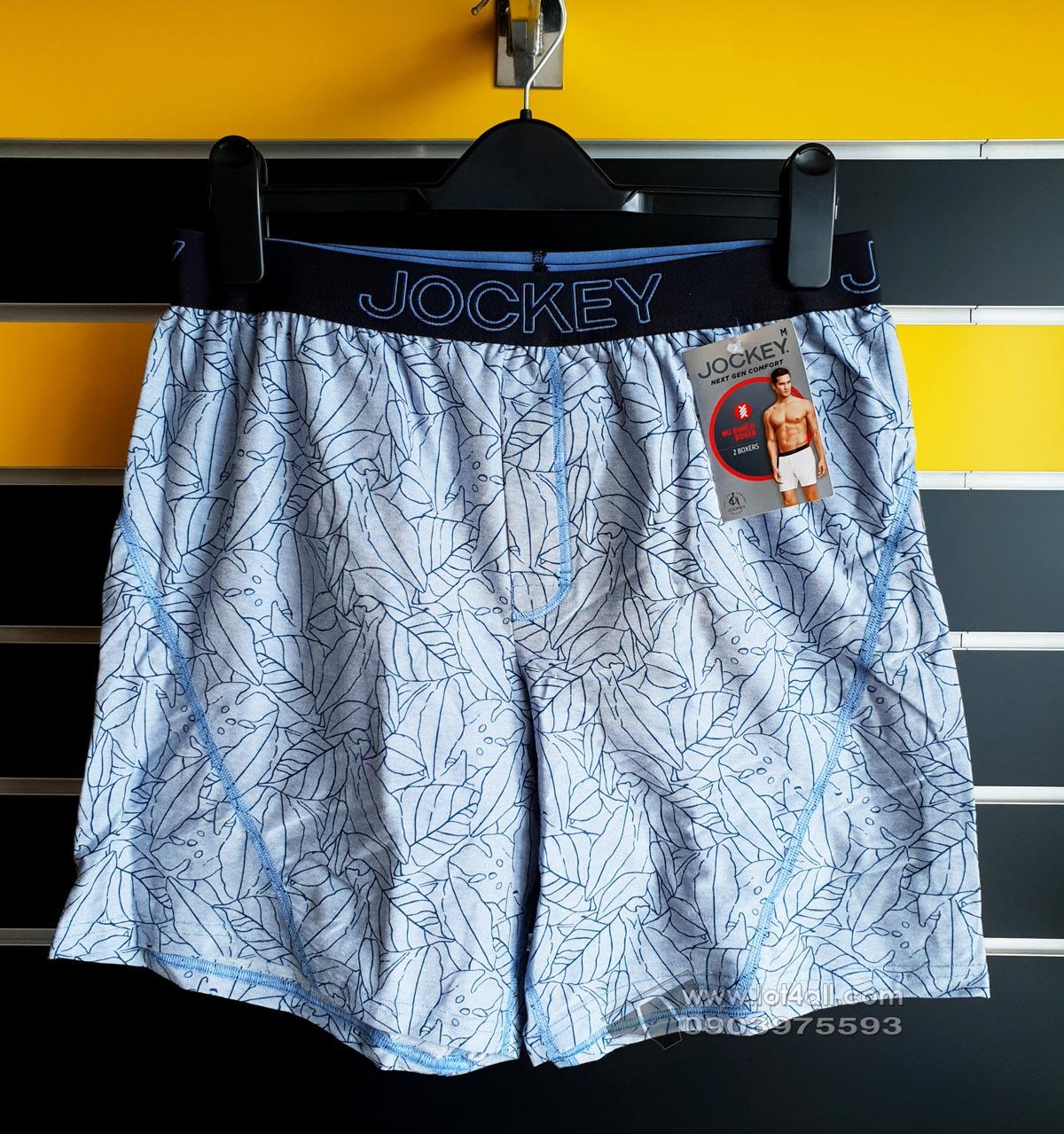Quần boxer nam Jockey Knit No Bunch 2-pack Blue Navy Flora/Solid