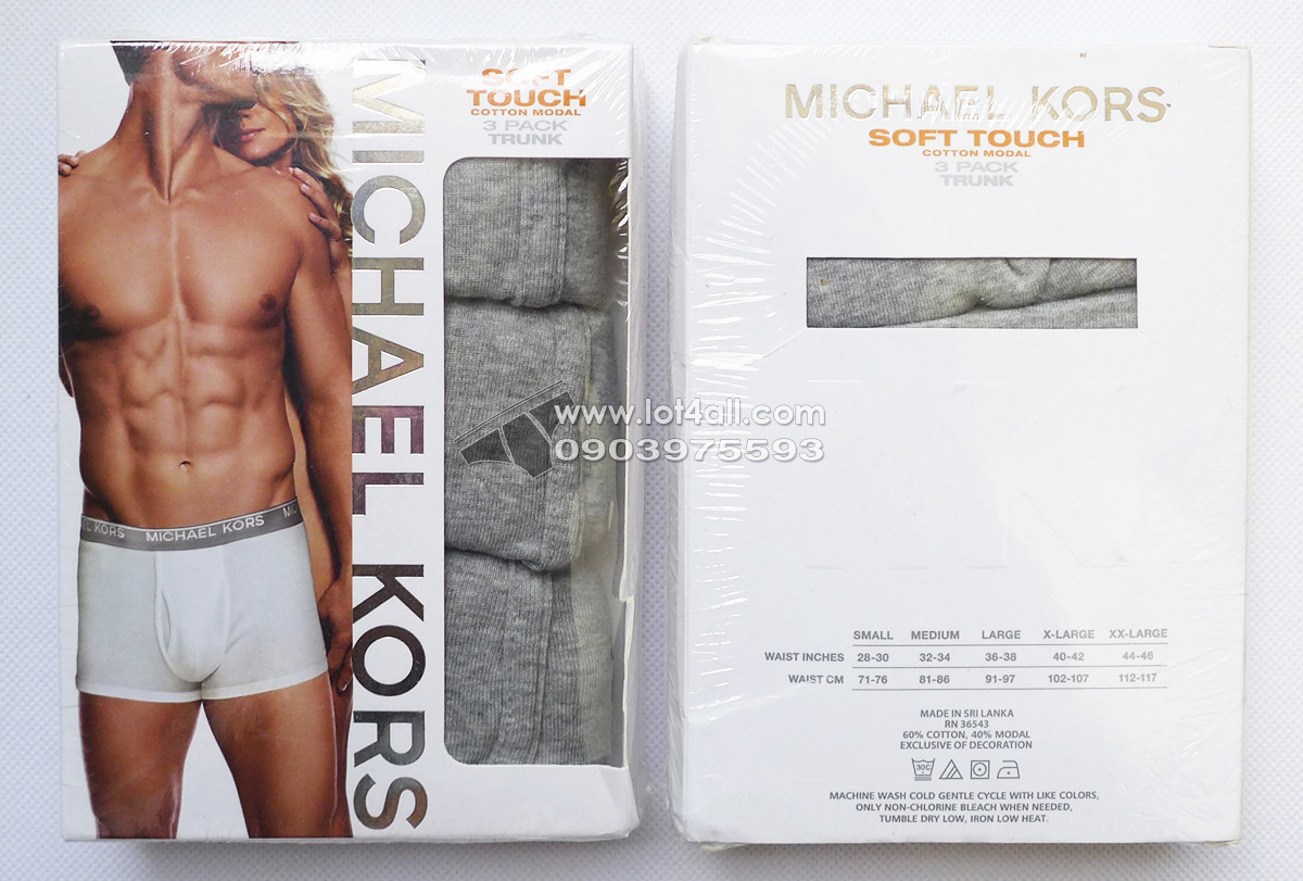 Quần lót nam Michael Kors Soft Touch Cotton Modal Trunk 3-pack Grey Heather