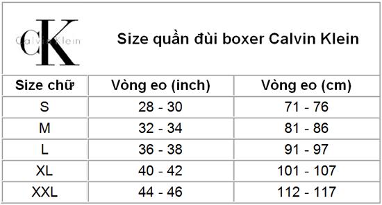 Size chart Calvin Klein