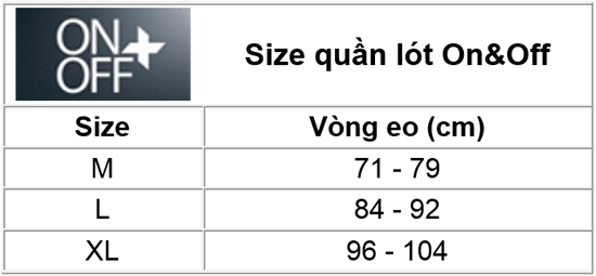 Size chart On Off