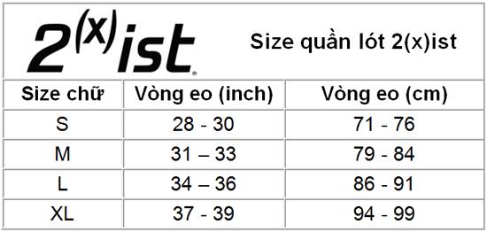 Size chart 2(x)ist
