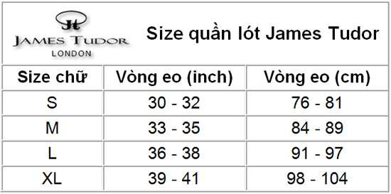 Size chart james Tudor