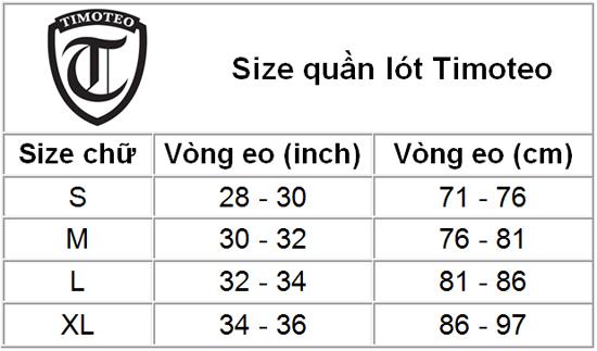 Size chart Timoteo