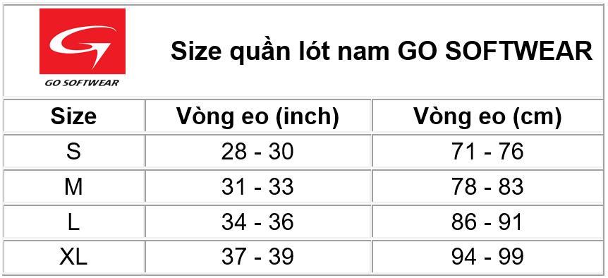Size chart Go Softwear