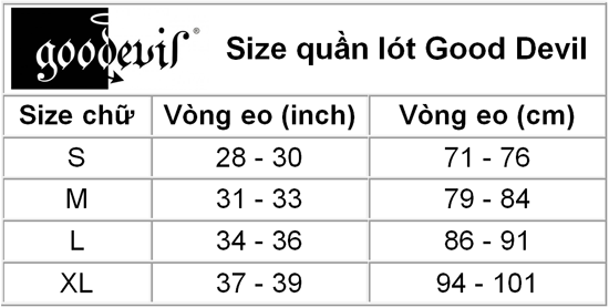 Size chart Good Devil