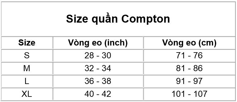 Thông tin size quần Compton