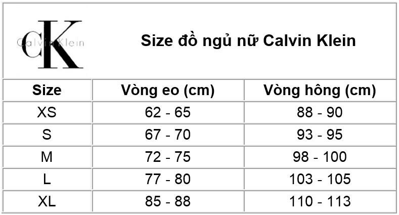 Thông tin size đồ nữ Calvin Klein