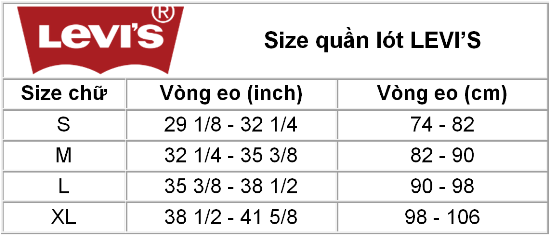 Size chart LEVI'S