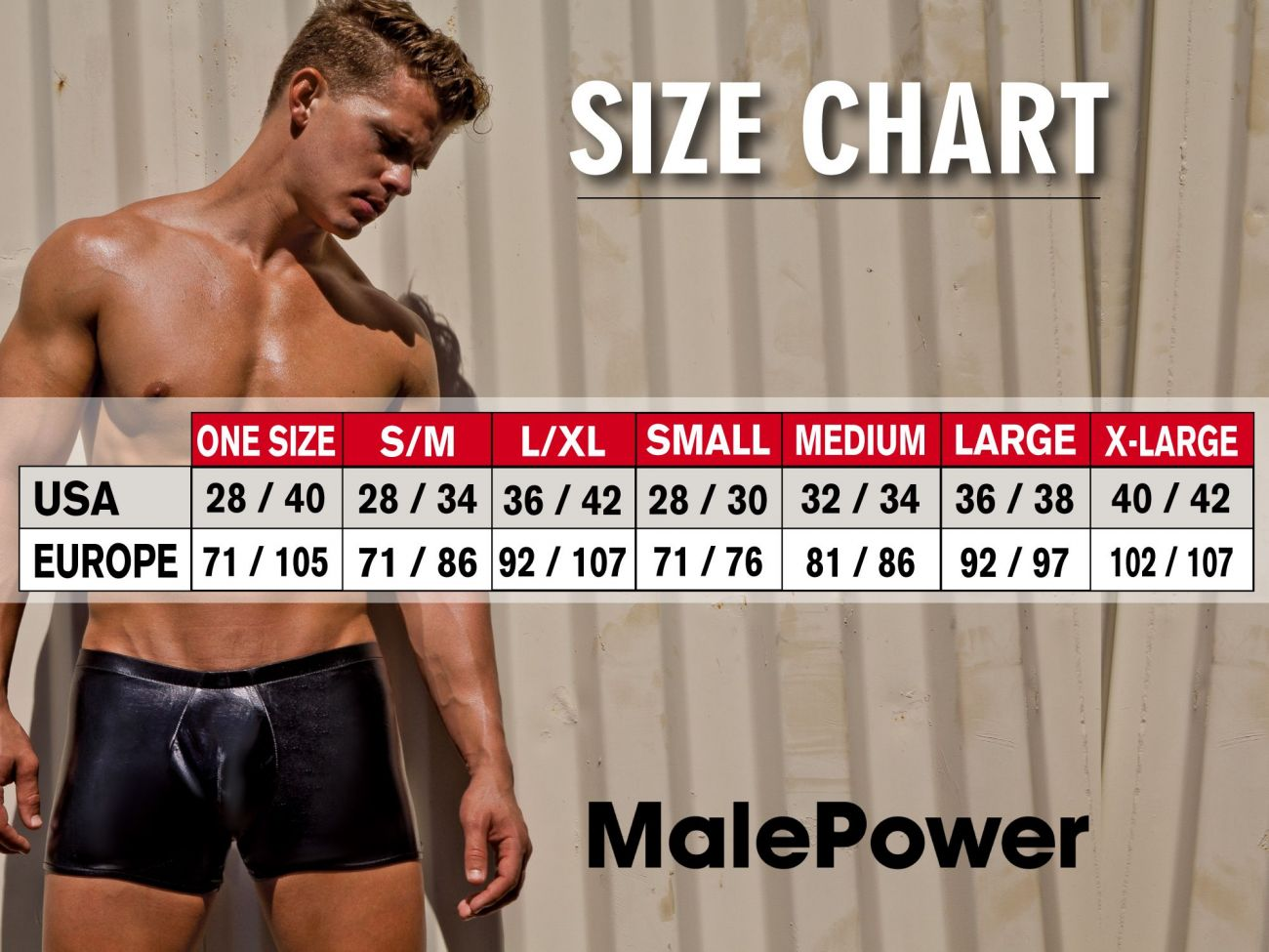 Size chart quần lót nam Male Power