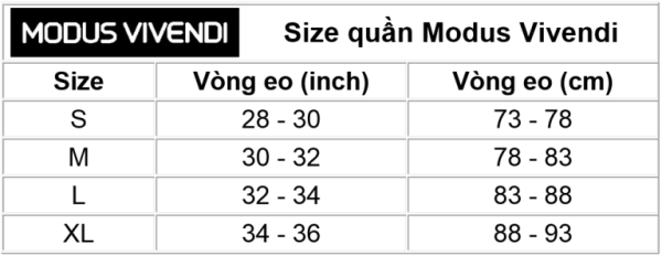 Size quần Modus Vivendi