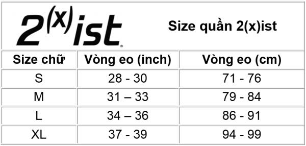 Size quần 2(X)ist