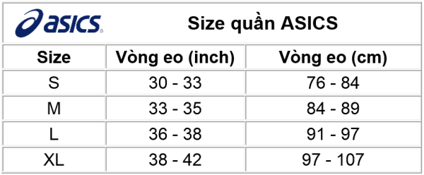 Size quần ASICS