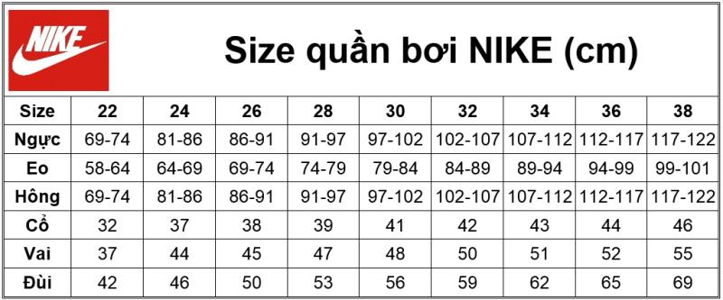 Size quần bơi Nike