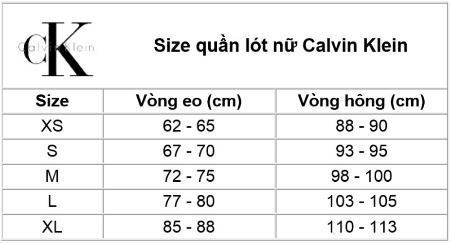 Thông tin size quần lót nữ Calvin Klein