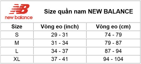 Size quần New Balance