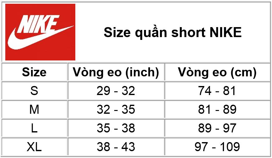 Size quần short Nike
