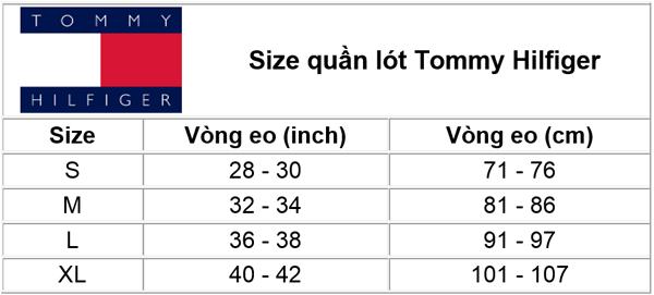 Size quần lót nam Tommy Hilfiger