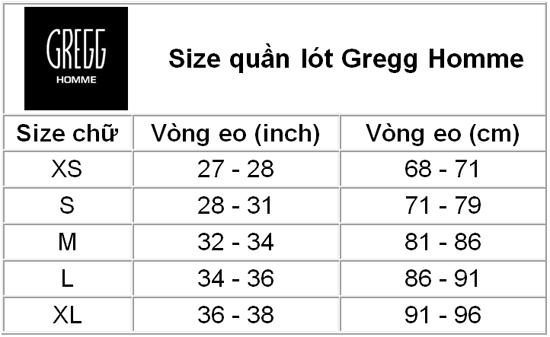 Size chart Gregg Homme